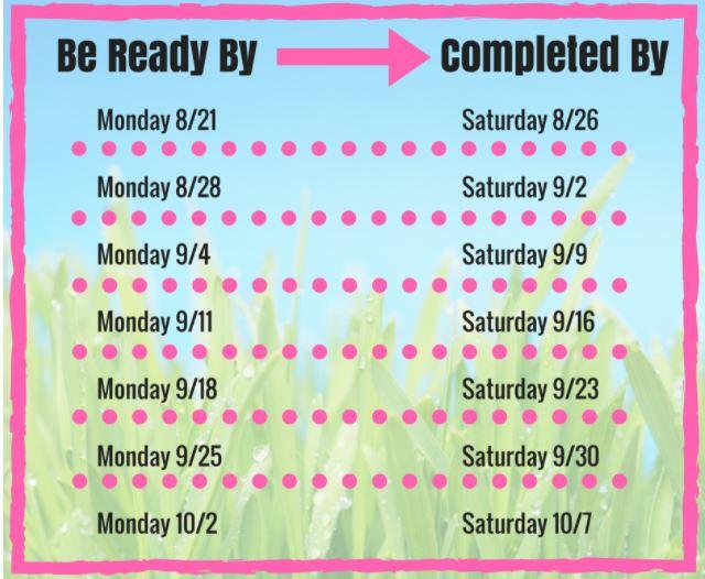 2017 Lawn Renovation Schedule